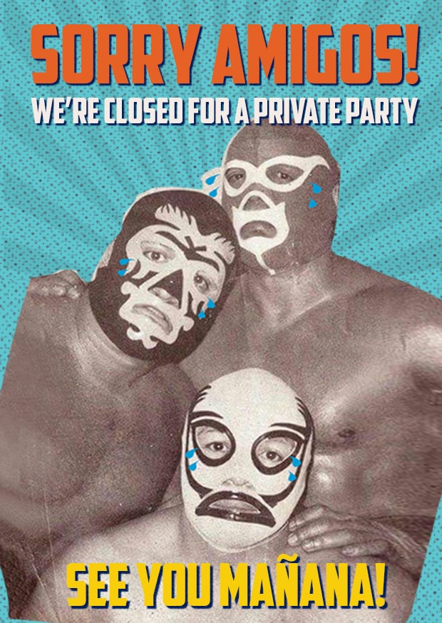 Private Party Closing Sign